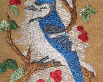 Bluejay Bird Potholders, machine embroidered
