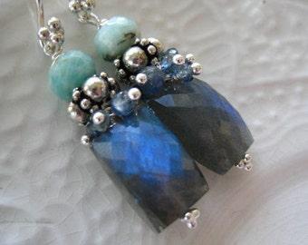 Labradorite Gemstone Earrings-Blue and Gray Gemstone Earrings-Northern Lights