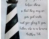 Scripture Art, Watercolor Print - Matthew 5:16 - Lighthouse, Bible Verse Print, Bible Verse, Scripture Artwork