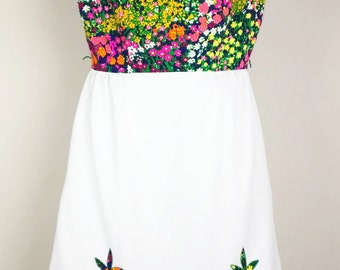 Vintage 60s Floral Print Sleeveless Dress S