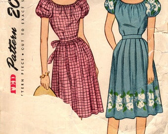 1940s Simplicity 1648 Vintage Sewing Pattern Misses Peasant Dress Size 16 Bust 34