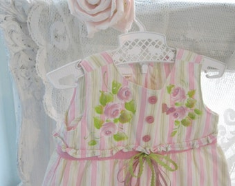 Baby Dress, Dress, Pink & Green, Painted, Upscaled, Dress and Bloomers, Size to 3 months, by enfantjoli on etsy