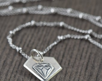 Diamond necklace sterling silver diamond necklace blackened diamond necklace april birthstone necklace gifts for her