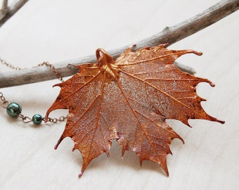Large Fallen Copper Maple Leaf Necklace - REAL Maple Leaf Pendant - Nature Lover Necklace
