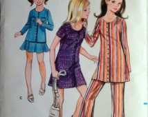 Vintage 60's Butterick 5634 Sewing Pattern, Girls' Dress Or Top, Pants And Skirt, Retro Mod, Size 7, 26 Breast