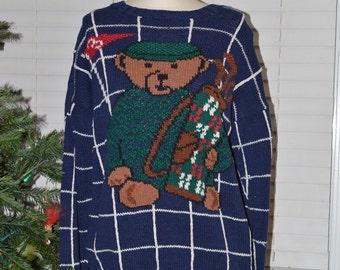 VTG Teddy Bear Golf Sweater // Embassy Row // Size Medium // Hole 3