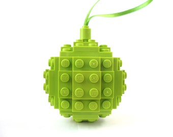 Bauble - Handmade with LEGO(r) Bricks. Lime Christmas Bauble, Christmas tree Decoration, Stocking Filler