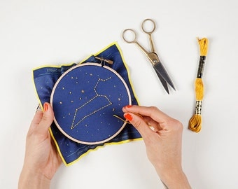 Leo Zodiac Embroidery Kit - DIY constellation embroidery kit, Birthday Gift, Baby Gift, Kids Room Decor