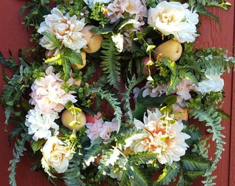 Peaches and Cream Floral Wreath...Front Door Wreath...Living Room Wreath....Summer Wreath....Wall Decor