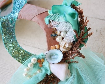 Mako - Mermaid Inspired Masquerade Ball Mask in Aquamarine and Coral with Real Seashells