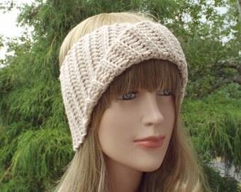 Oatmeal Yoga Headband, Womens Head Wrap, Athletic Hair Band, Crochet Head Band, Workout Headband, Beige Turban Head Wrap, Boho Headband