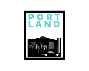 Portland Print // Oregon Print // Portland Art // Portland Poster // Portland Skyline // Oregon Art // Oregon Poster // Portland Gift