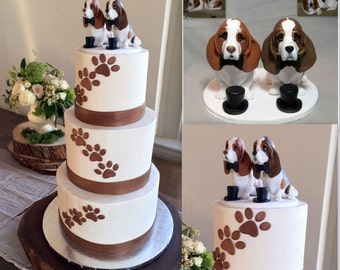 Custom Made Clay 2 Dog Wedding Cake Topper Sculpture  Basset Hound Two Grooms  Animal Bride Groom Pet