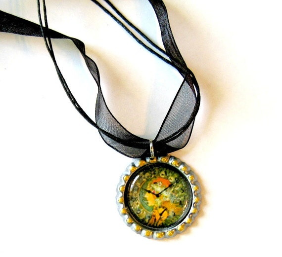 Faux Art Nouveau Clock Choker Necklace,  Faux Clock Choker Necklace Pendant, Organza Ribbon Bottle Cap Pendant, Art Nouveau Style Pendant