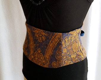 Blue and Gold Corset Waist Cincher Tapestry Belt LAST ONE XS