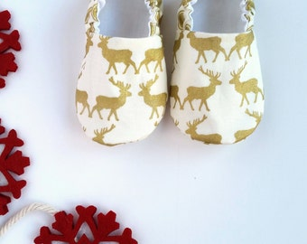 Reversible Baby Shoes, Deer in Gold Sparkle