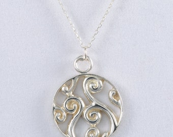 Fiddlehead Fern Sterling Silver Pendant