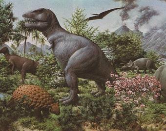 Dinosaur Illustration - 60's vintage book clipping