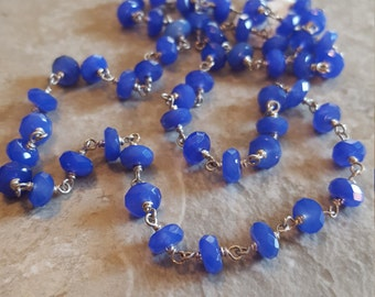 "Blue Onyx (Faceted) Linked with Sterling Silver and Toggle Clasp 18.5"" *Clearance* - Free Shipping"