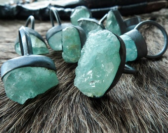 SALE Raw aquamarine ring | Chunky aquamarine ring | Aquamarine crystal ring | Rough aquamarine stone  ring March birthstone ring