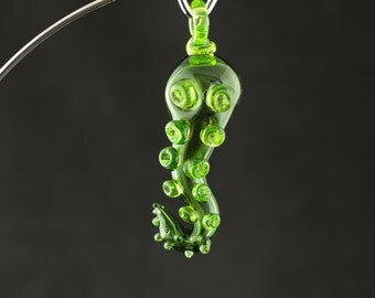 Octopus Glass Spoon Pendant Pipe Hand Blown Thick Wall in Emerald Green & Illuminati, Ready to Ship #334