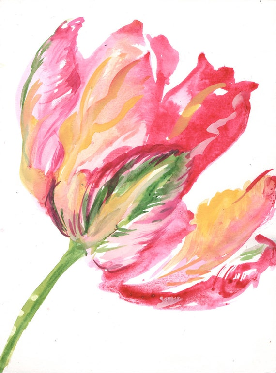 Watercolor painting -Parrot Tulip- original watercolor flower painting