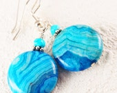 Agate Earring/Silver Crazy Lace Agate Turquoise Earring/ Bali Silver Beads/Agate Gemstone Earring/Blue Agate Jewelry/Natural Stone Jewelry