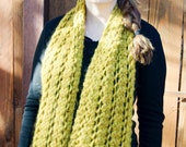 Soft Mustard Yellow Chunky Wool Scarf Wrap