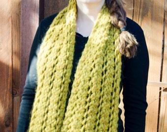 Soft Mustard Yellow Chunky Wool Scarf Wrap