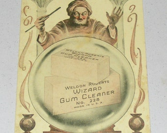 Rare Antique Weldon Roberts Wizard Gum Cleaner Ink Blotter Trade Card Advertisement Wizard with Crystal Ball Litho