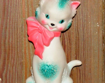 Vintage Sun Rubber Company Squeaky Toy Tall Kitty Cat Green Eyes with Pink Bow
