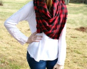 Oversized Plaid Blanket Scarf in Red + Black Check