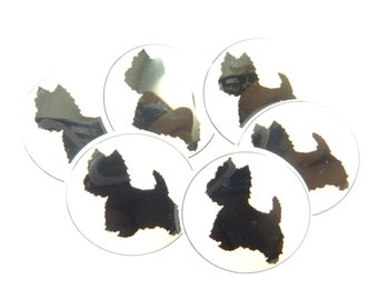 "6 Westie Dog Buttons. Handmade SHANK Sewing Buttons. 3/4"" or 20 mm."