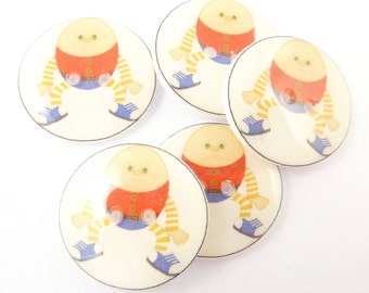 """5 Humpty Dumpty Buttons. Children's Sewing Buttons. Nursery Rhyme buttons.  3/4"""" or 20 mm."""