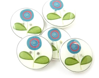 """5 Modern Flower.  Blue and Burgundy Circle Flowers. Handmade Sewing or Scrap Booking Buttons.  3/4"""" or 20 mm."""
