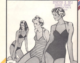 Stretch & Sew 1345 1970s V Neck SWIMSUIT and Trinagle BIKINI Pattern  Womens Vintage Sewing Pattern Bust 30 -  40 UNCUT