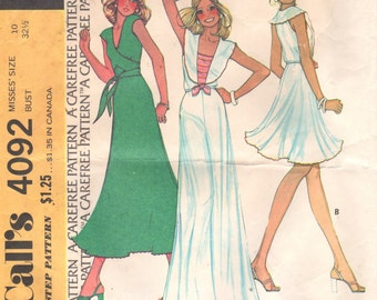 McCalls 4092 1970s Misses Wrap Top Middy Top and Flared Skirt Pattern Knits STEPHEN BURROWS Womens Vintage Sewing Pattern Size 10 Bust 32