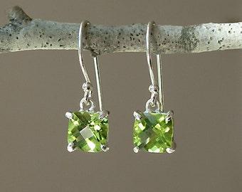 Cushion Cut Peridot Earrings - Dainty Little Earrings - Checkerboard Cut - Green Gemstone - August - Prong Set – Dangle – Sterling Silver