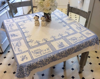 Vintage Tablecloth Victorian Scenes in Blue & White