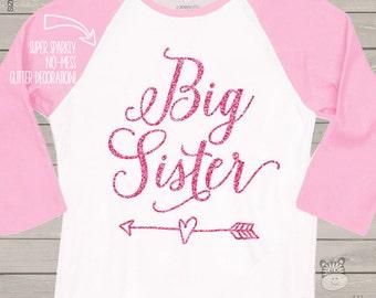 Big sister sparkly glitter heart with arrow RAGLAN shirt - fun big sister pregnancy announcement shirt