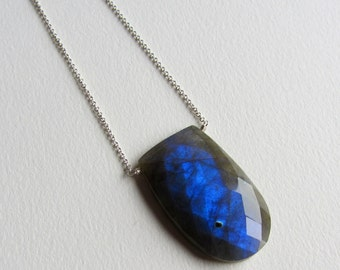 Faceted Labradorite Gemstone Necklace Handmade in Seattle