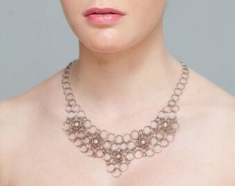 Silver Necklace - Geometric Necklace - Round Necklace - Statement Necklace - Pearl Necklace - Stone Inlay - Bride Necklace - Unique Necklace