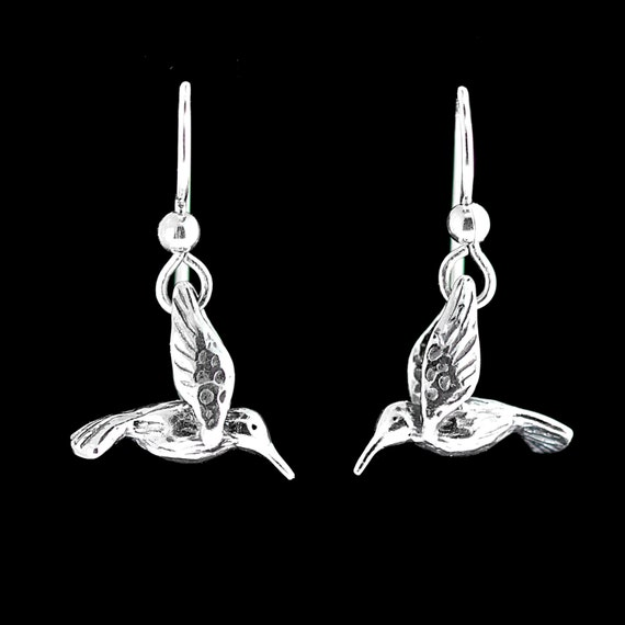 Hummingbird Earrings Silver - Hummingbird Jewelry - Small Hummingbird Earrings - Bird Earrings Bird Jewelry - Silver Hummingbird