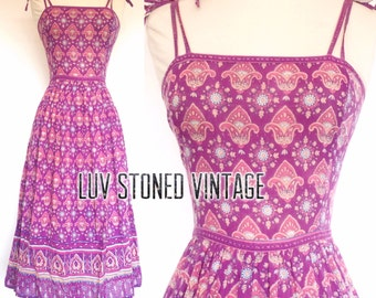 SOLD . Vintage 70s Adini Indian Cotton Boho Hippie India Ethnic Festival Midi Dress . D143 . XS/Small . 1213.8.5.16