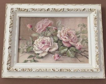 Pink Cabbage Christie Repasy - Old Blush Roses - French Inspired Roses - Gorgeous Ornate Frame