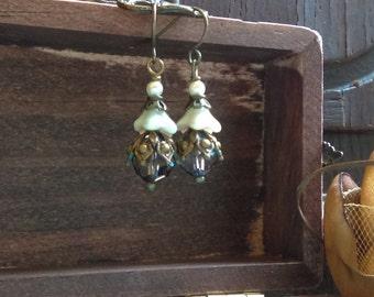 Dainty Victorian romantic brass earrings
