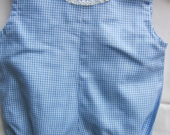 Vintage Baby Romper Light Blue Gingham With Lace - So Sweet!