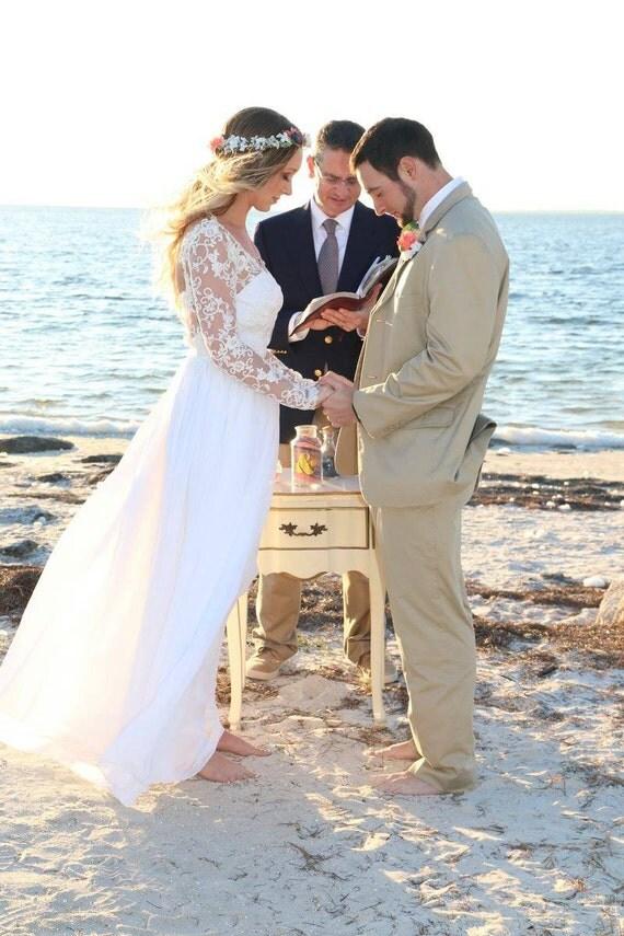 Jennifer, Long Sleeve Lace Wedding Dress with Gathered Chiffon Skirt
