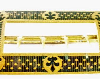 Antique Black ENAMELLED BELT Brass BUCKLE - Rectangular - Art Nouveau - 4 hasps, back plain with slide attached- natural age patina -Vintage