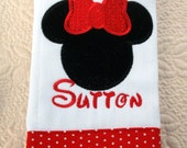 Minnie Mouse Boutique Custom Monogrammed Personalized Burp Cloth
